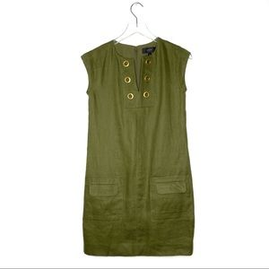 J. Crew | Olive Linen Shift Dress With Grommets
